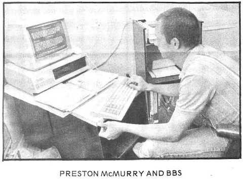 Me operating my BBS on an 8088 computer, 10 meg Hard drive and 300 baud modem.
