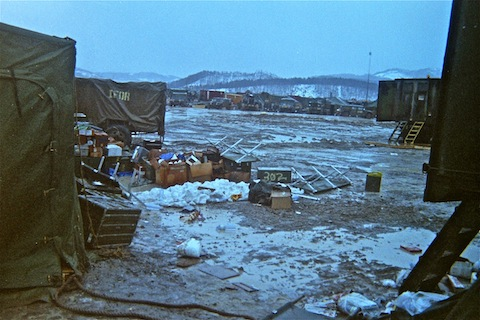 Muddy aftermath of a Bora (a 100mph windstorm) at 47th FSB near Ðurðevik.