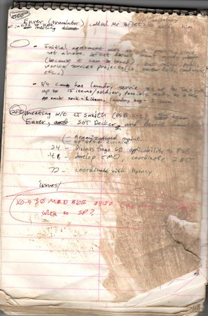 WRTOYA log book. Bosnia's mud made it impossible to keep anything clean.