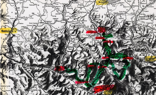 Map of central Bosnia, with our routes (green) and commonly visited towns (red), and other important locations (yellow).