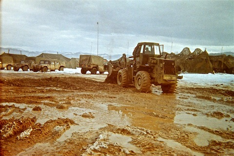 Mud at 47th FSB base on top of Visca mine slag heap.