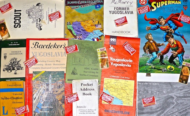 Collage of Bosnia resources, including Lovely Girls bubblegum.