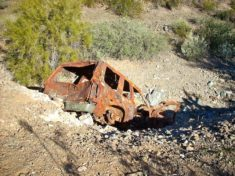 This wreck -- any idea what it is? -- is in the unnamed wash just south of the Western Vista Trail.