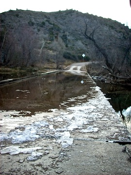 The Cave Creek crossing at Seven Springs was iced over.