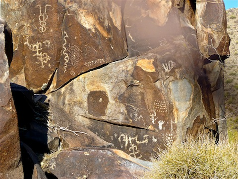 "Some of the ""petroglyphs"" appeared to be of more recent vintage, which would explain the fence."