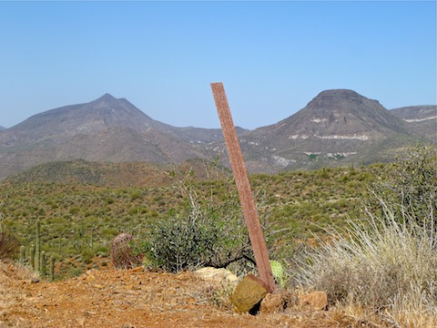 The interesting thing about this fiberglass pole is that when the breeze bent it, it made a sound that had me looking for for burros. Elephant Mountain and Sugarloaf Mountain in the background.
