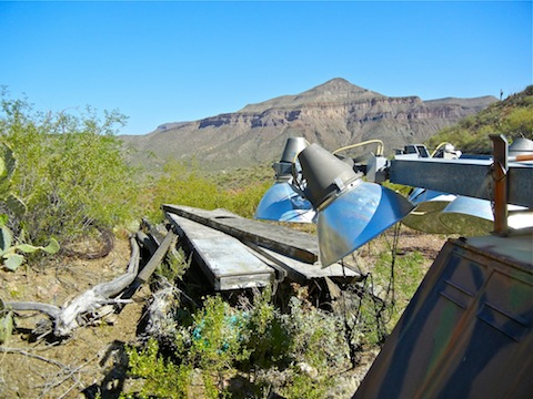 Mining equipment near the path into Holy Joe Canyon. Brandenburg Mountain in the background.
