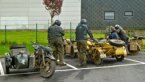 These bikers were riding WWII-era German military motorcycles. I suspect the Afrika Korps did not fight in 0°C weather.
