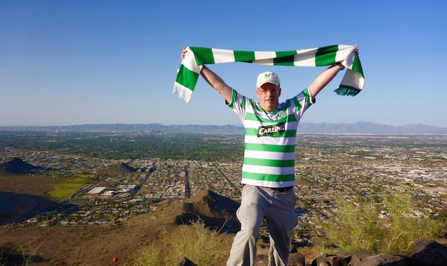 The famous Glasgow Celtic Hoops on the summit of Shaw Butte. Sunnyslope below.