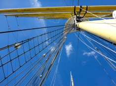 Looking up at the rigging of the barque Glenlee.
