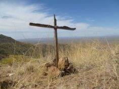 Simple wooden cross, overlooking Congress, on AZ-89, not far from the Granite Mountain Hotshots Memorial State Park.