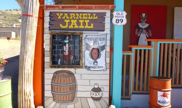 Me behind bars in the Yarnell jail.