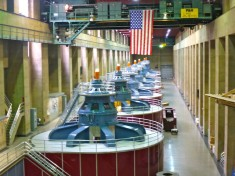 Hoover Dam turbines with 300-ton overhead crane.