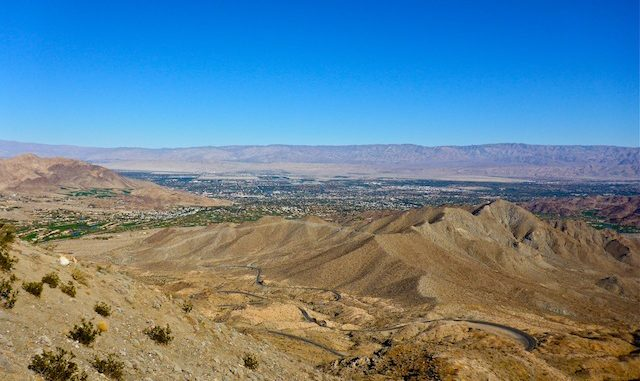 From the Coachella Valley Vista Point, looking down the CA-74 switchbacks towards Palm Desert.