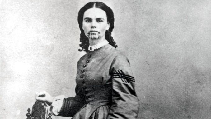 Olive Oatman, with Mohave tribal tattoo.