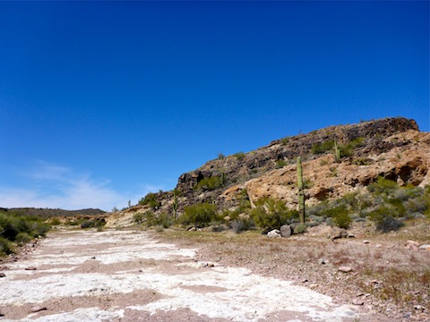 Looking from Indian Spring, northwest, to the petroglyph hill.