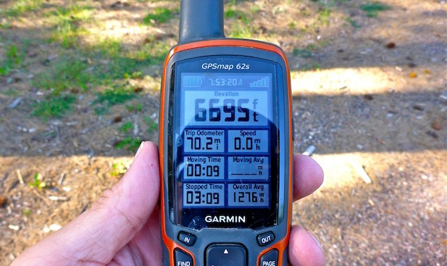 Crappy Garmin 62S shows 70 miles nine seconds into my hike.