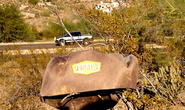 Discarded Denny's hat