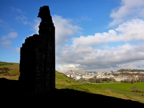 Looking past St. Anthony's Chapel  to Calton Hill.