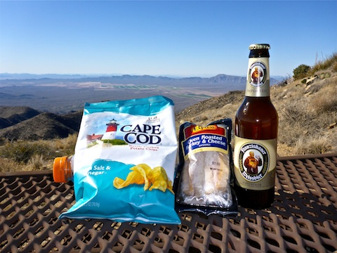 Vinegar chips, murderwich & summit brew.