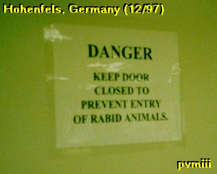 Warning on barracks door