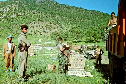 Moving supplies with Kurdish guerillas. Our LZ was on the other side of the road, at the base of the hill.
