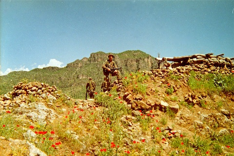 Me and the Iraqi bunker on top of the hill. Nothing could move on the road if this was occupied.