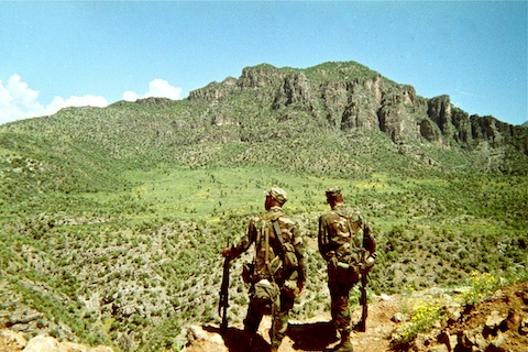 Two of the other three guys on the patrol. Wish I remembered their names. Looking east from the bunker.