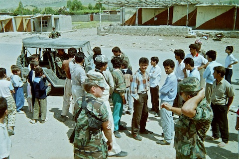 CPT Scholz and A-Team leader pow-wowing with the Kurds in a small city -- possibly Derlak or Suri -- between Chameju and Zakho.