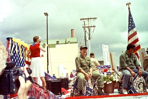 Float with Vietnam vets, finally getting the parade they deserved.