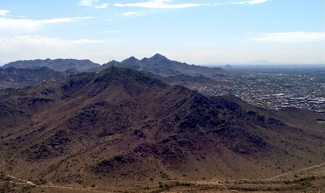 Looking from summit of Shaw Butte, towards North Mountain, with Piestewa Pea in the background.