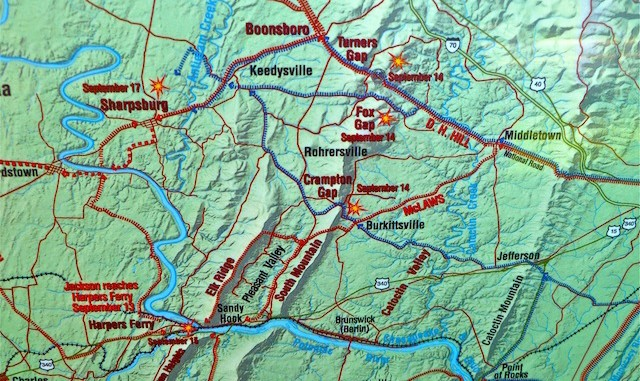 Campaign Map for the Civil War battles of South Mountain and Antietam.
