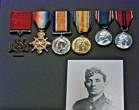 William Angus, and his medals, including the VC (left).