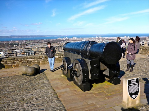 "Mons Meg, a 20""/510mm cannon built in 1449, aimed towards the Firth of Forth."