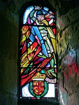 Stained glass window in 12th Century St. Margaret's Chapel, the oldest building in Edinburgh.
