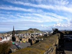 Looking from the castle walls, east past St. Giles Cathedral to Arthur's Seat.