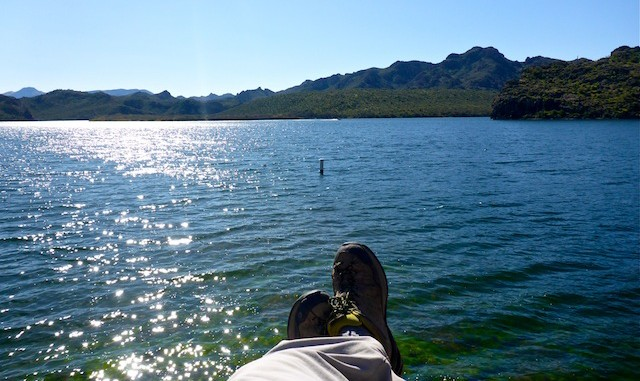 Relaxing on the shore of Saguaro Lake.