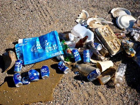 A fraction of the trash I collected. It was mostly beer cans, and most of those were Bud Light -- just like when I am hiking.