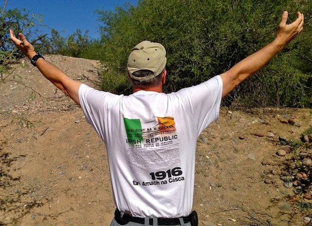 Hiking home, my t-shirt bears the Easter Rising declaration.