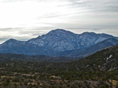 View from Sandstone Overlook, south past the hamlet of Mountain Springs, towards 8500-foot Potosi Mountain.