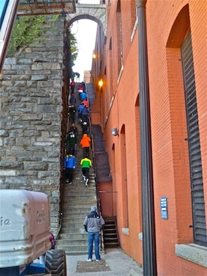 The Georgetown University cross country team went down the Exorcist Steps considerably slower than Father Karras.