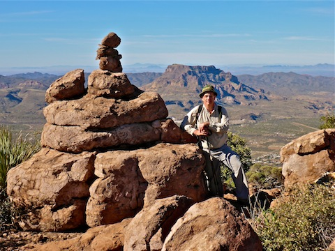 Me at the summit of Apache Leap. Arnett Canyon and a Picketpost Mountain in the background.
