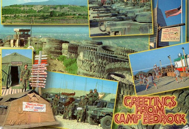 Another card my friend sent me from Bosnia in March, 1998. It did not take a month to arrive. Camp Bedrock, near Visca, looks like a summer camp.
