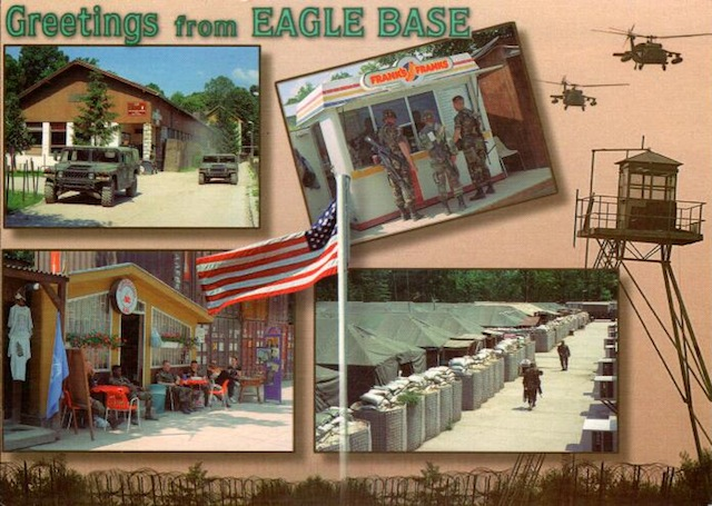A friend sent me this card from Bosnia in March, 1998. When I was passed through Tuzla Main in 1996, there was a DFAC, but no hot dog stands or cafes.