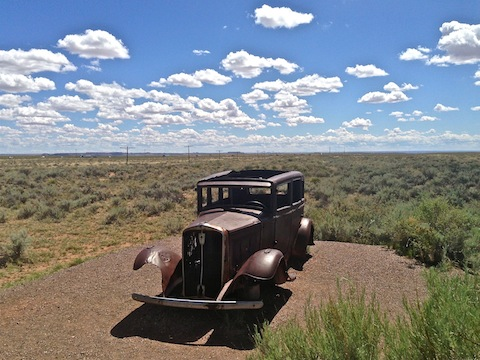 '32 Studebaker at the intersection of Route 66 and I-40, just south of the Painted Desert Inn.