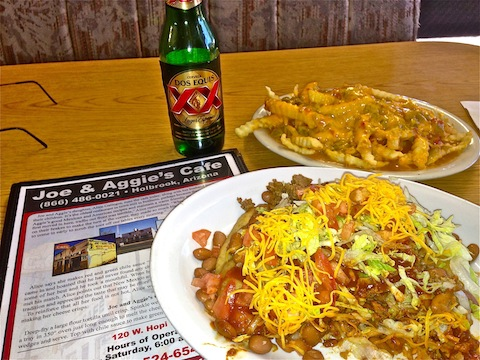 Dinner, and beers, was at Joe & Aggie's Mexican Cafe, the oldest continuously operating restaurant in Holbrook, on Route 66. I was hiking hungry: I actually almost finished this spread!