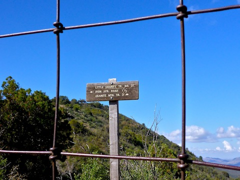 I like the way the gate wires frame the trail sign.