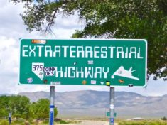 Sign at the Crystal Springs oasis on the corner of U.S. 93, NV-318 and NV-375, the Extraterrestrial Highway.