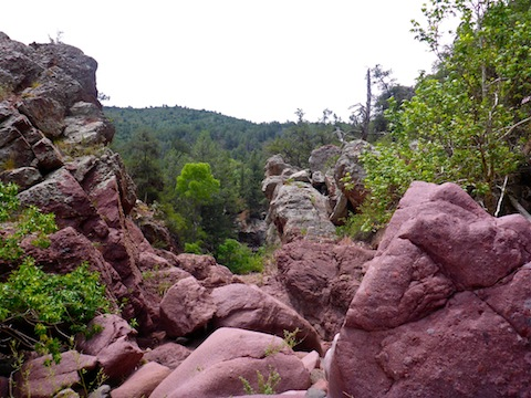Maroon boulders in Pine Canyon.