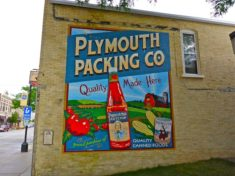 One of about a dozen murals in downtown Plymouth.